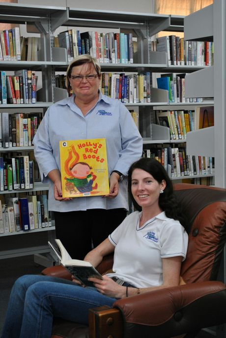 LIBRARY TIME: St George Library librarian Sheree Ryan (back) and Balonne Shire Council's manager of  community and economic stability, Alanna Edwards, take advantage of the new-look facility.