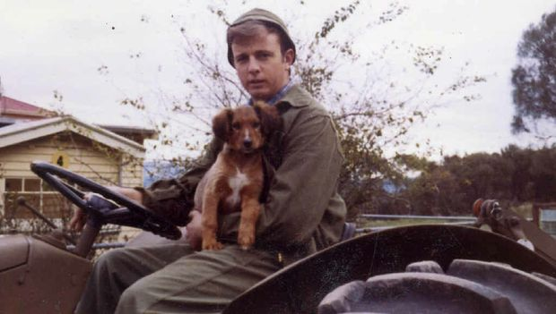 BEST MATES: A young John Skinner pictured with his dog, Digger, who turned out to be a fighter extraordinaire, taking on snakes, feral cats, rabbits and wallabies with huge success.