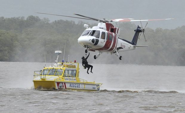 RAAF personnel undertake a training excercise with members of the Ballina Marine Rescue on the Richmond River at Ballina.