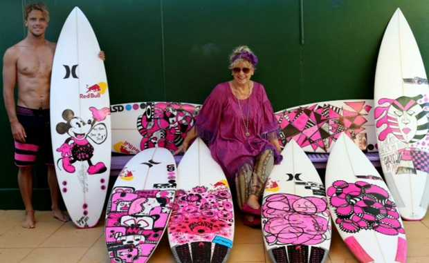 PRO surfer Julian Wilson will use a pink board designed by his mother Nola Wilson in the Quicksilver Pro to help raise funds and awareness for breast cancer.