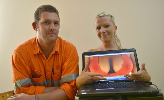 Sonia Mobbs (pictured with husband Luke) is hoping people will vote for her on a Facebook competition to win a breast augmentation and a trip to Thailand.