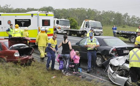 Five car crash Warrego hwy near Gowrie Junction turn. Photo Dave Noonan / The Chronicle