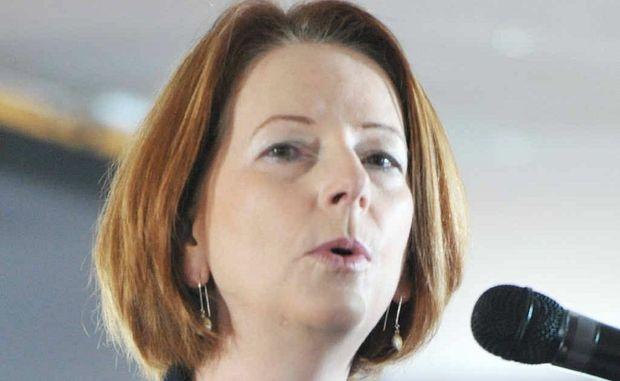 CITY VISIT: Prime Minister Julia Gillard speaking at the Ipswich Turf Club last November.