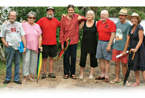 MOVED ON: Some of the Terrace Reserve Caravan Park's 22 residents forced to relocate. From left: Wayne Johnson, Judith Searles, Gary Morganson, John Whiley, Gypsy Lane, Reg Richardson, Geoff Suthon and Maxene Morganson.