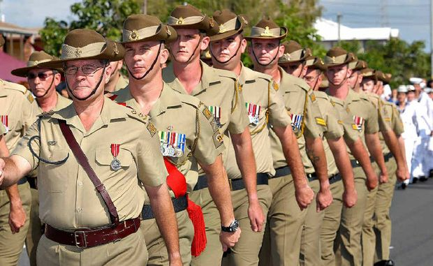 Help the Daily Mercury pay tribute to servicemen past and present, like these participants in the 2012 Anzac march.