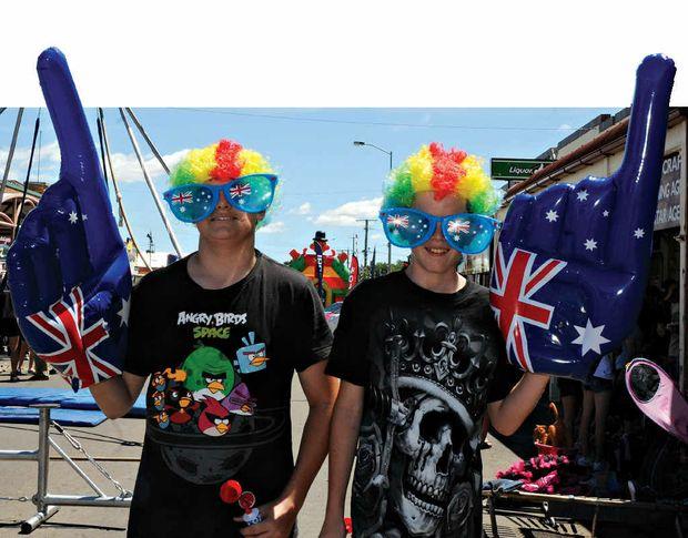 PATRIOTIC PRIDE: Tyson O'Dea-Newey and Brodie Glendinning got dressed up for Australia Day II.