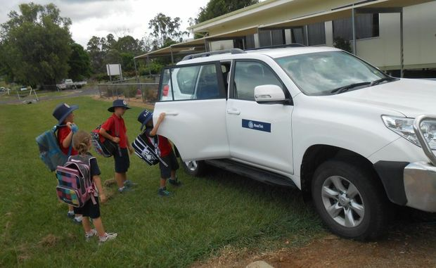 Students in hard-to-access areas of Mt Sylvia are getting to school in Roadtex vehicles driven by school staff.