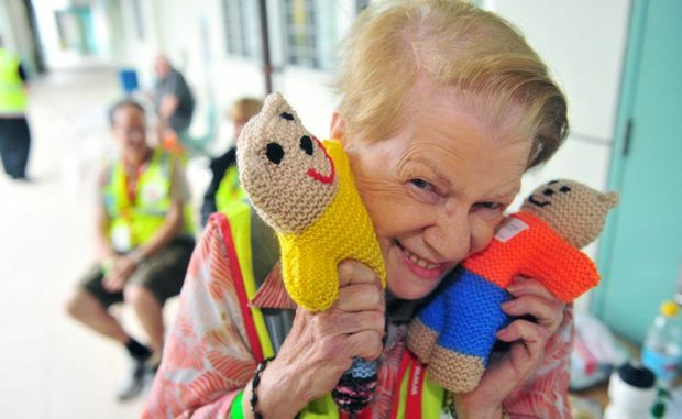 Red Cross Australia volunteer Beris Gaal helps to make these cute little bears for kids affected by the flood.