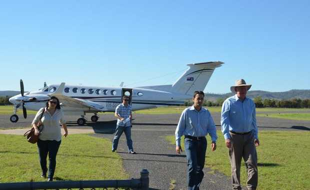 NEED FOR SERVICE: Gayndah Airport was vital during the floods, Deputy Premier Jeff Seeney and Minister for Local Government David Crisafulli were amongst many who needed the airport.