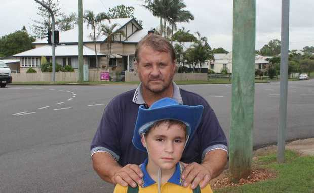 Maryborough dad Brett Clark is worried about son Troy's safety at the Pallas and Kent St intersection.