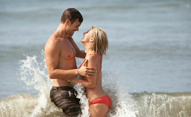 The only place Katie (Julianne Hough) is safe is in love with Alex (Josh Duhamel), in Safe Haven.