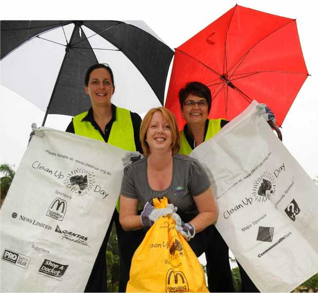 GET READY: The Bundaberg Regional Council Community Services team of Nicole Miller, Heidi Mason and Robyn Silcox prepare for the Clean Up Australia Day.