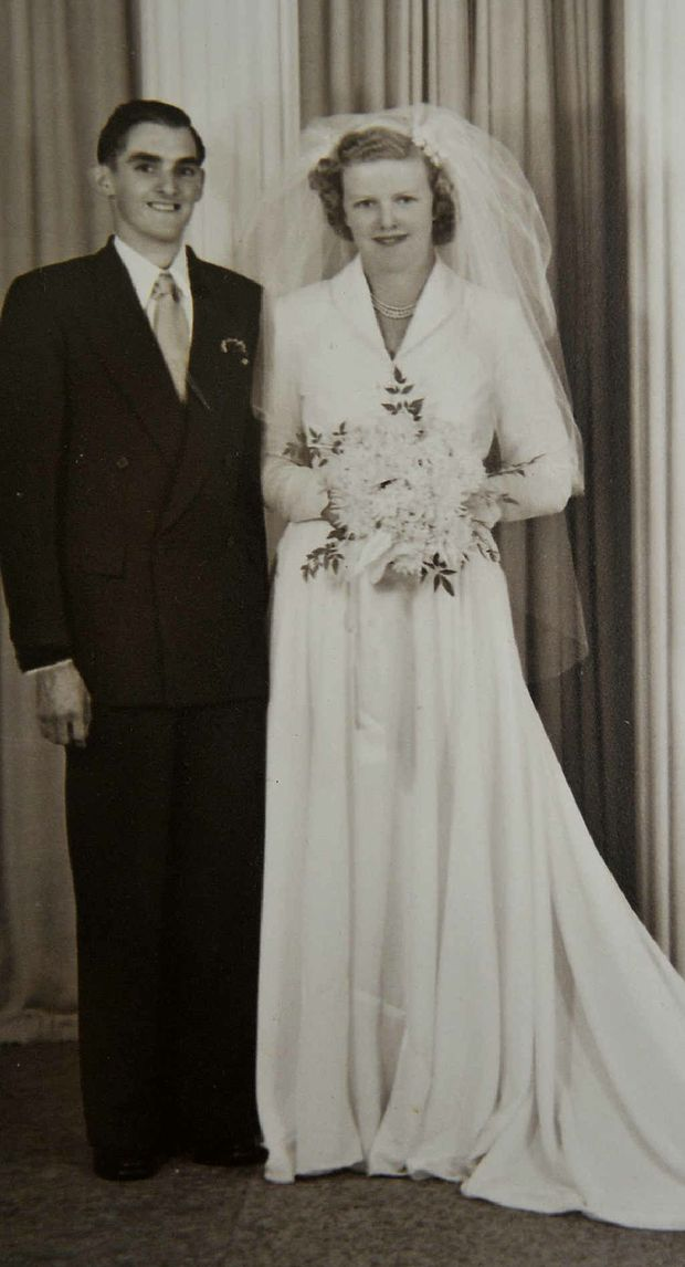 SPECIAL DAY: Harry and Mavis Castle on their wedding day on April 4, 1953 at St Luke's Church in Toowoomba.