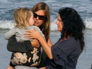 Meg Strange and 2-year-old daughter Indigo, with a friend. Photo / Brett Phibbs