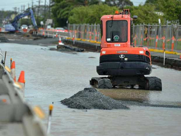 Heavy rain brought roadworks on Bridge Rd, between Paradise and Milton Sts, to a halt yesterday.