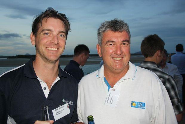 Geoff Shadforth, left, of Shadforth Civil Contractors and Steve Brockwell of Living Choice at the Cardno Christmas party at the Boatshed Restaurant, Maroochydore.