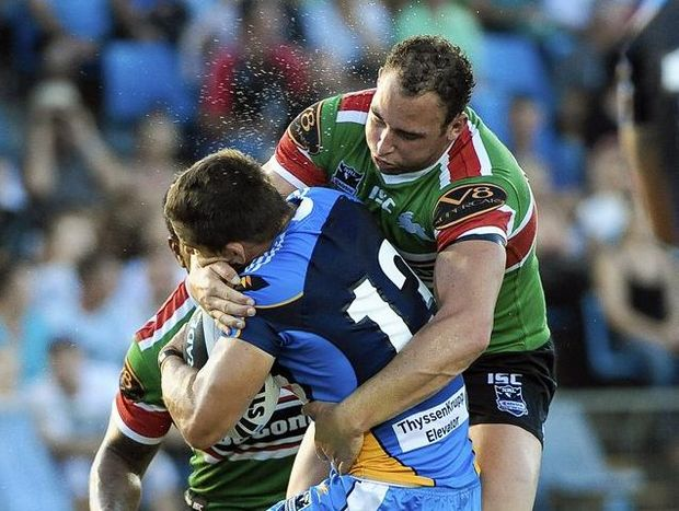 South Sydney forward Ben Lowe (right) is ready to tackle a new season in the NRL.
