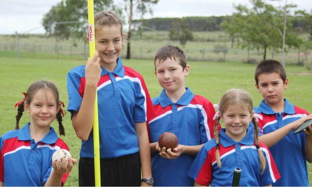SIGNING UP: Bonnie Berry, Riley Deeley, Curtis Freeman, Mackenzie Deeley and Adam Berry are part of the Anakie and District Little Athletics Club.