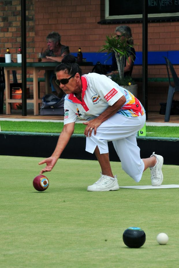 LAWN BOWLS: Bargara Bowls Club member Carol Nystrom bowls against Burnett Bowls Club in the Super Challenge Quarter Final held at Moore Park Beach Bowls Club. Photo: Max Fleet / NewsMail