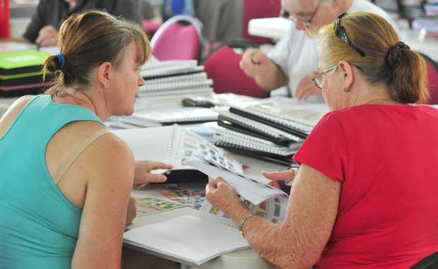 STAMP FEST: Laurel and Patricia Wenborn at the Stamp Fair hosted by the Bundaberg Philatelic Society Inc at the Bundaberg and District Family Centre. Photo: Max Fleet / NewsMail