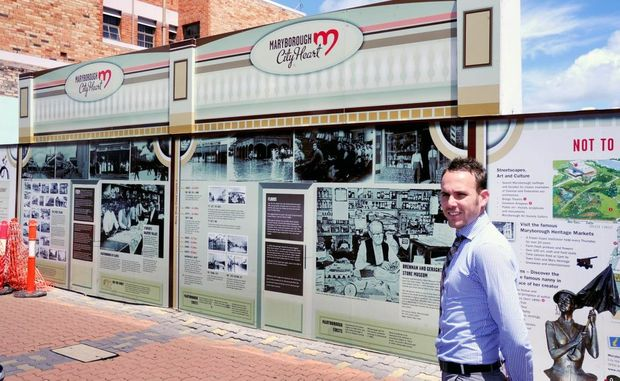 Reaching out to investors, councillor Daniel Sanderson stands by a prime, Kent St location in Maryborough's CBD.