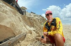 Marcoola SLSC patrol captain Scott Waddell says at least five metres of beach has been eroded since Australia Day.