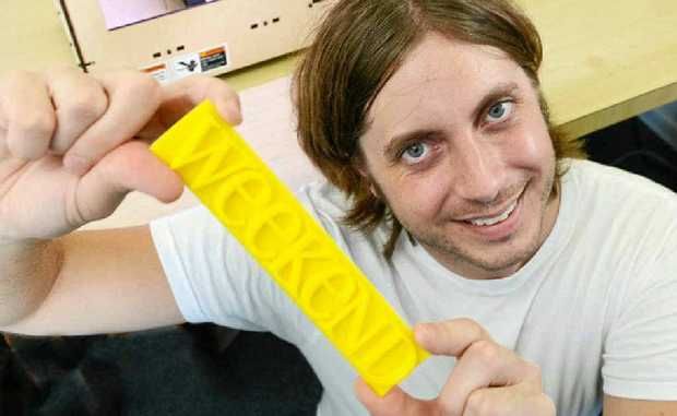 HOME MADE: Ivan Casselman and the MakerBot Replicator 3D printer.