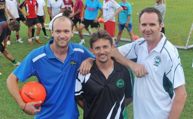 WELCOME ABOARD: Justin Anderson, Tim Lunnon and Scott Allison join forces for the 2013 season at Moore Park Beach Football Club. Photo: Max Fleet / NewsMail
