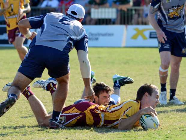 NSW Country Mavericks dive over for a try in its NTL Elite 8's final win at BCU International Stadium.