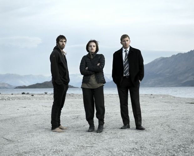 From left, Thomas M Wright, Elisabeth Moss and David Wenham in a scene from the TV series Top of the Lake.