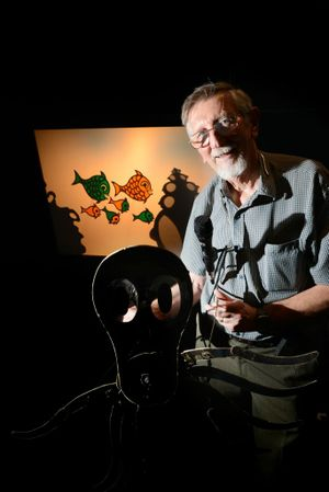 Shadow Puppeteer Richard Bradshaw will host shadow theatre shows at Ipswich Art Gallery for the school holidays. Photo: Sarah Harvey / The Queensland Times