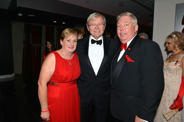 Denise and Bruce Morcombe with Kevin Rudd. Photo: Warren Lynam / Sunshine Coast Daily