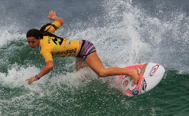 File photo of Lennox Head surfer Tyler Wright competing in the ASP Billabong Rio Pro competition in Barra da Tijuca beach, in Rio de Janeiro, Brazil, 12 May 2012.