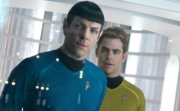 Zachary Quinto, left, and Chris Pine in a scene from the movie Star Trek Into Darkness.