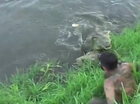 Video shows photographer snapped by a crocodile