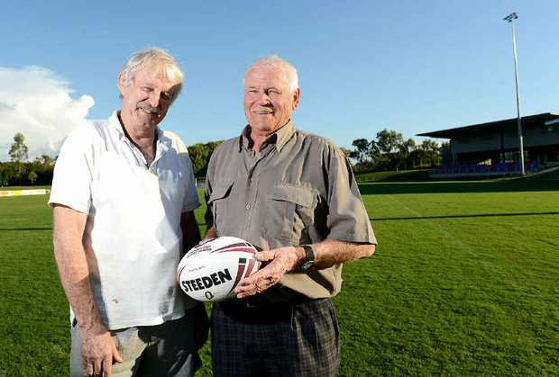 REUNION: Bob Bell and Ray Verrenkamp reminisce about the first game of league on the current North Ipswich Reserve, between Ipswich and Brisbane in 1963.