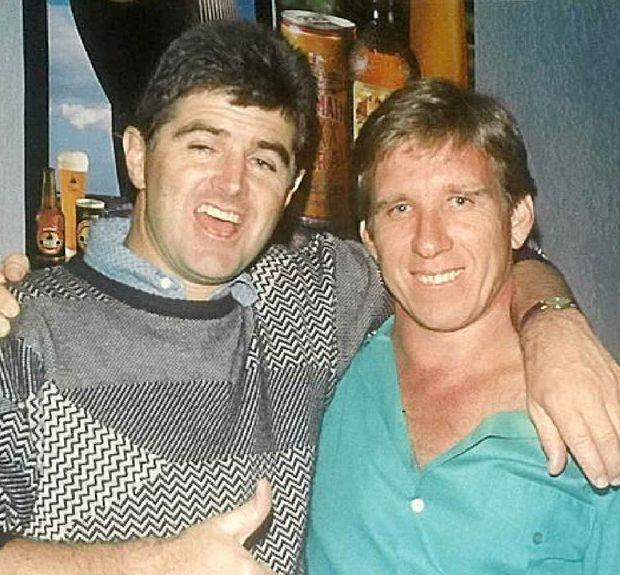 Long-time mates John Ellingsen and Dave Cush in 1986.