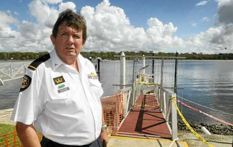 Tin Can Bay Coast Guard volunteer crewman Peter Conway said the organisation's pontoon had been out of order since January because of major damage caused by a combination of storms and floods.