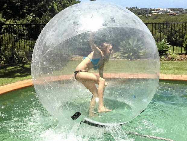 LOTS OF FUN: Sarah Short, of Ballina, in the Zorb ball.
