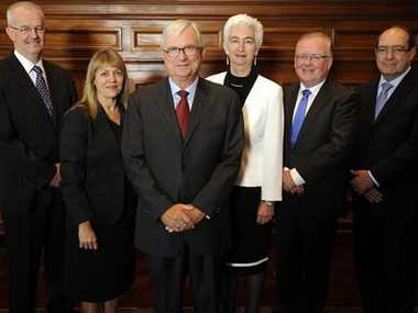 The Royal Commission into Institutional Responses to Child Sexual Abuse will include Commissioners: (left to right) Mr Bob Atkinson AO APM, Professor Helen Milroy, Justice Peter McClellan AM (Chair), Justice Jennifer Coate, Mr Robert Fitzgerald AM and Mr Andrew Murray.