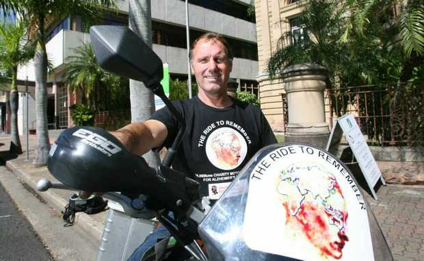 Paul Brown pictured here in Rockhampton is riding to remember to raise money for Alzheimers research by riding his bike across Australia then across Asia and Europe. Photo: Chris Ison / The Morning Bulletin