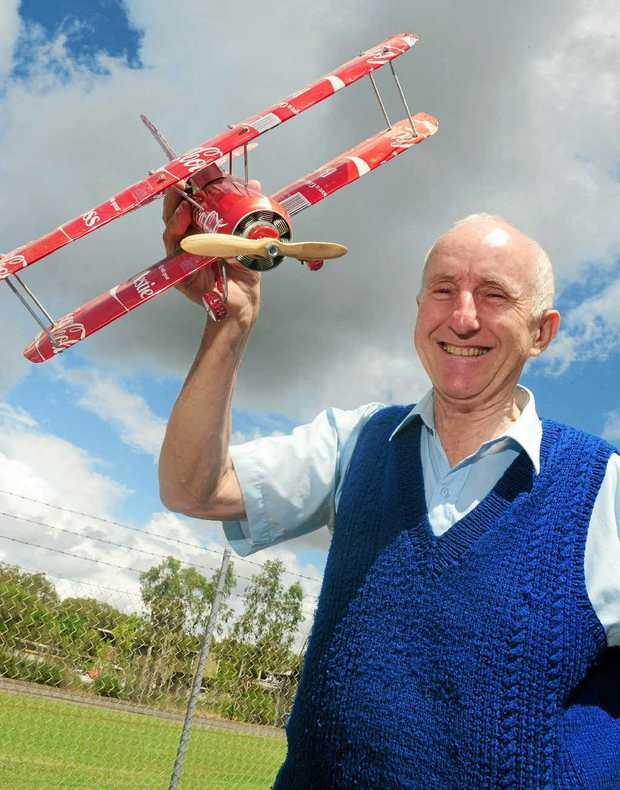 RECYCLED CANS: Don Harrison loves making things out of junk including these amazing aeroplanes.