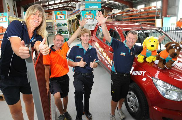 POWER ON BUNDY: Coopers Home Hardware staff members Debbie Warwick, Grant Anderson and Jeremy Symonds with store manager Jason Medcalf and the Holden Colorado. Photo: Mike Knott / NewsMail