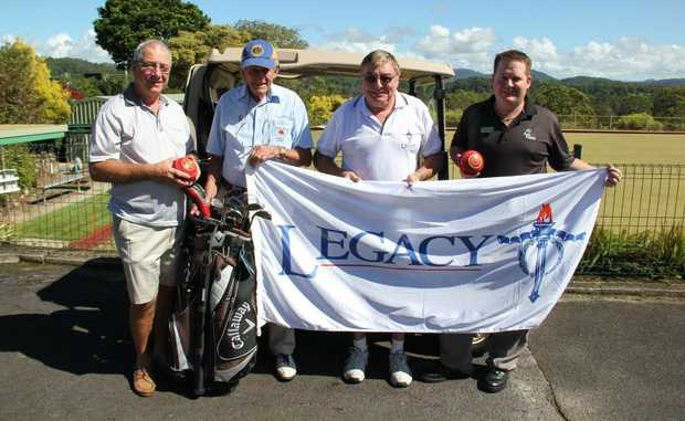 ANZAC GOLF: Bob James, Terry Rahill, Tony Corney and Andrew Spice get ready for Byron Legacy's Anzac Day charity tournament at Ocean Shores Country Club.