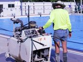 WORK is underway to build a roof over the 25m outdoor heated pool at the Hervey Bay Aquatic Centre including clear drop-down curtains.