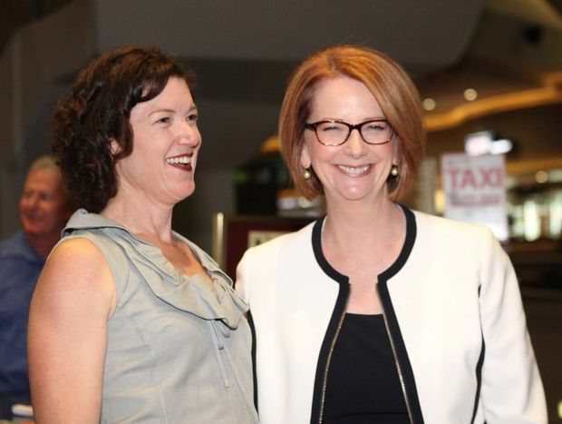 Kirsten Livermore with PM Julia Gillard. Photo Allan Reinikka / The Morning Bulletin