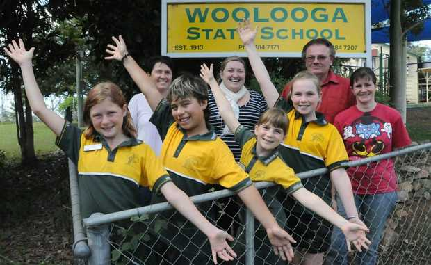 Woolooga State School pre Jubilee preparations. Back Marie Jenkins, Principal Stacey-Anne Bray, Thomas and Nicole Jones. Front students Jasmin Mitchell, Joseph Thompson, Krystal Jones and Olivia Bourke.