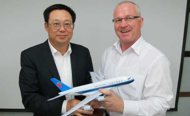 Mayor Mark Jamieson  meets with China Southern executive vice president Chen Weng. Mr Jamieson said he and Mr Weng discussed a proposal for China Southern to offer Chinese tourists golf holidays on the Sunshine Coast.