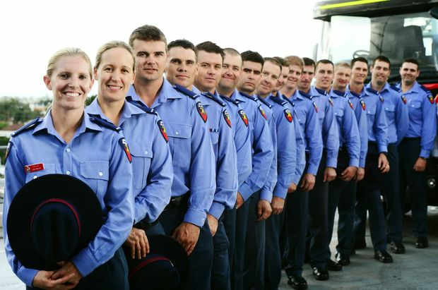 Ipswich welcomes 16 new firefighters to the region including two new female recruits Lisa Nayler (front) and Kim Small. Photo: David Nielsen / The Queensland Times