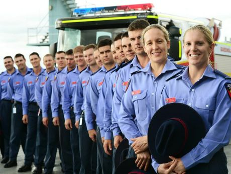 Ipswich welcomes 16 new firefighters to the region including two new female recruits Lisa Nayler (front) and Kim Small.
